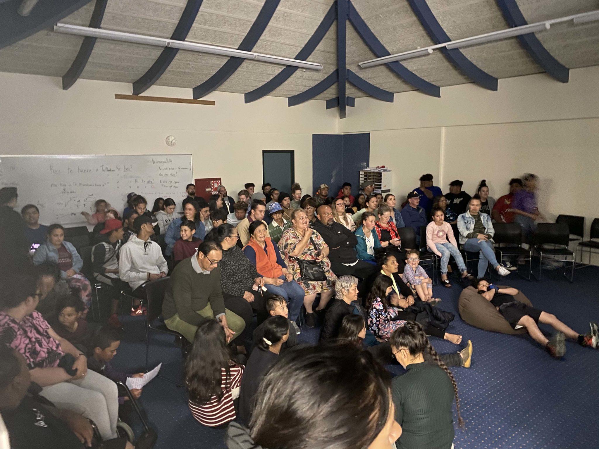 Whānau enjoy the films created by their rangatahi at the end of one of the Māoriland filmmaking workshops  in Tūranganui-a-Kiwa.